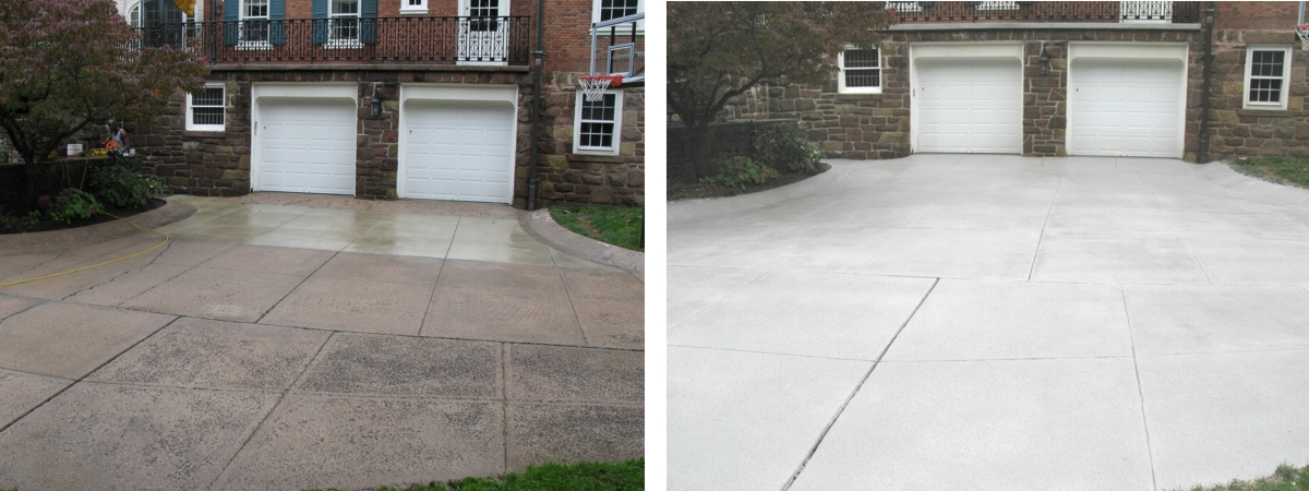 Driveway Spray Texture Before and After