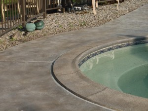 Skip Troweled & Stained Pool Deck