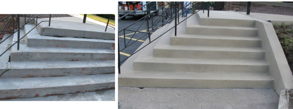 Before and after gallery diamond kote decorative - Resurfacing exterior concrete stairs ...