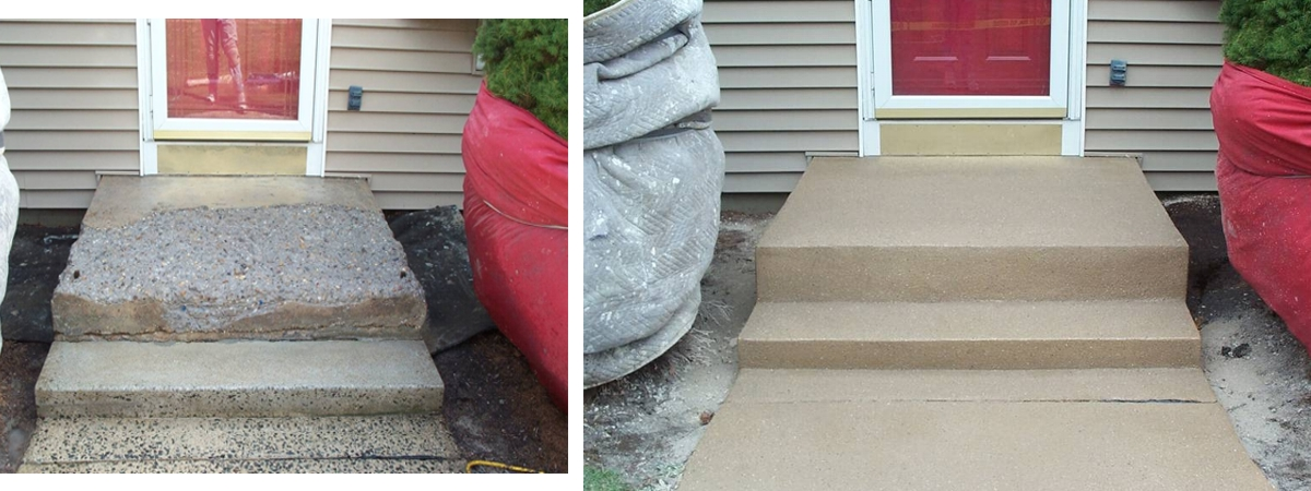 Stair repair before and after diamond kote decorative - Resurfacing exterior concrete stairs ...