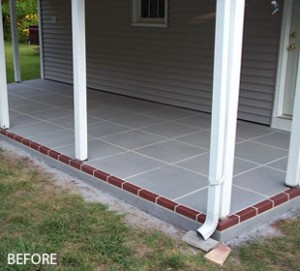 Sray Texture Patio with Tile Pattern & Border